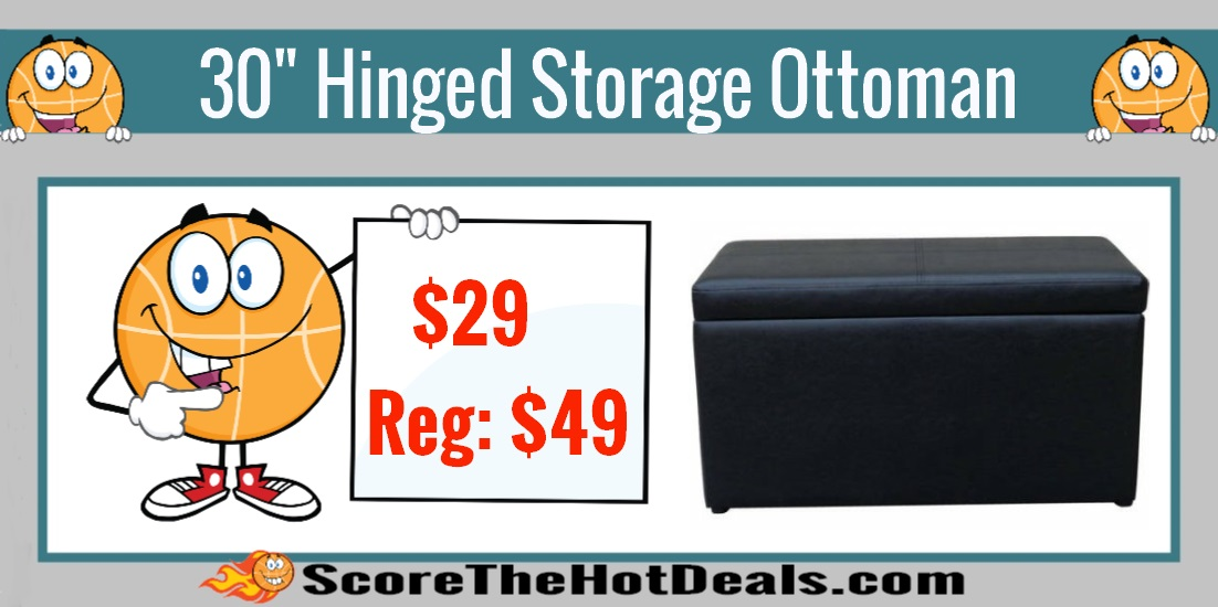 Black Faux Leather Hinged Storage Ottoman