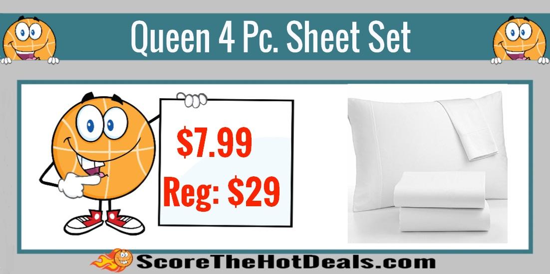 Queen 4 Piece White Sheet Set