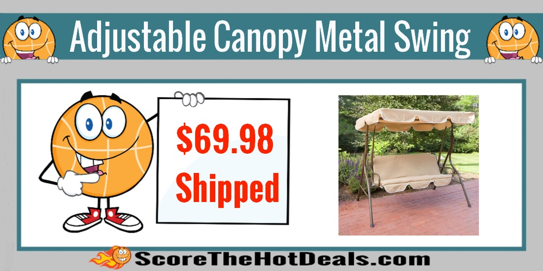 2 Person Adjustable Tilt Canopy Metal Swing