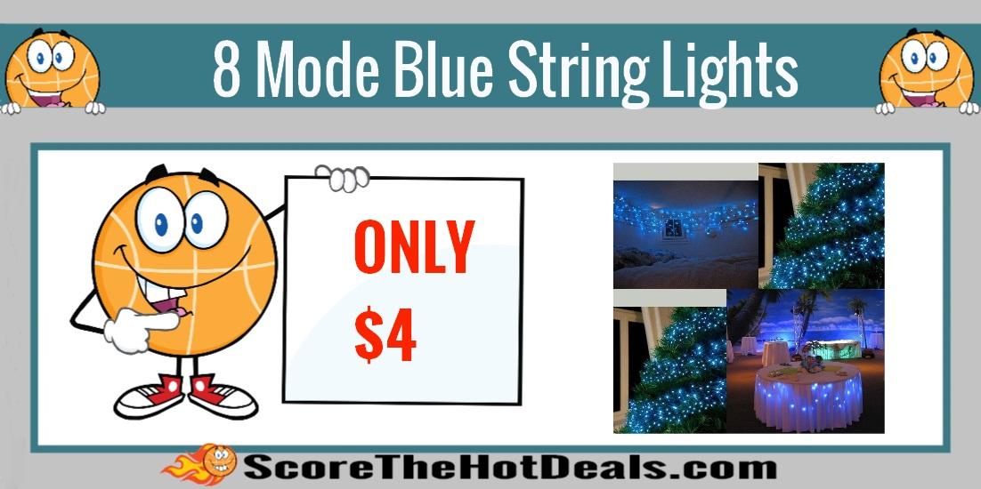 8 mode blue string lights