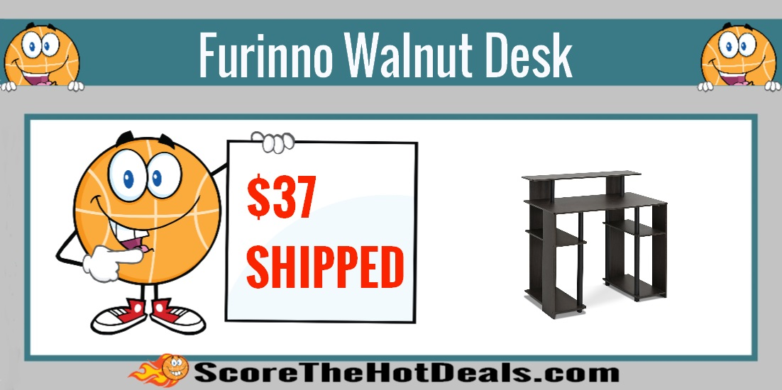 Furinno Walnut Desk