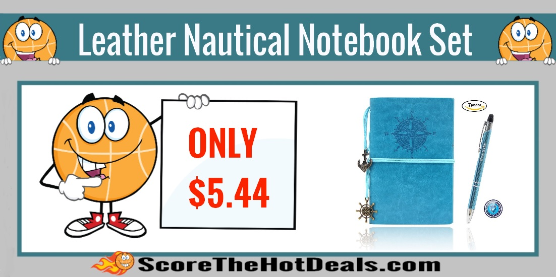 Leather Nautical Themed Notebook Set