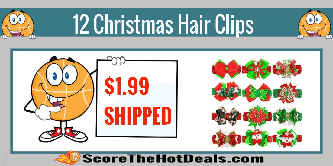 12 Christmas Hair Clips