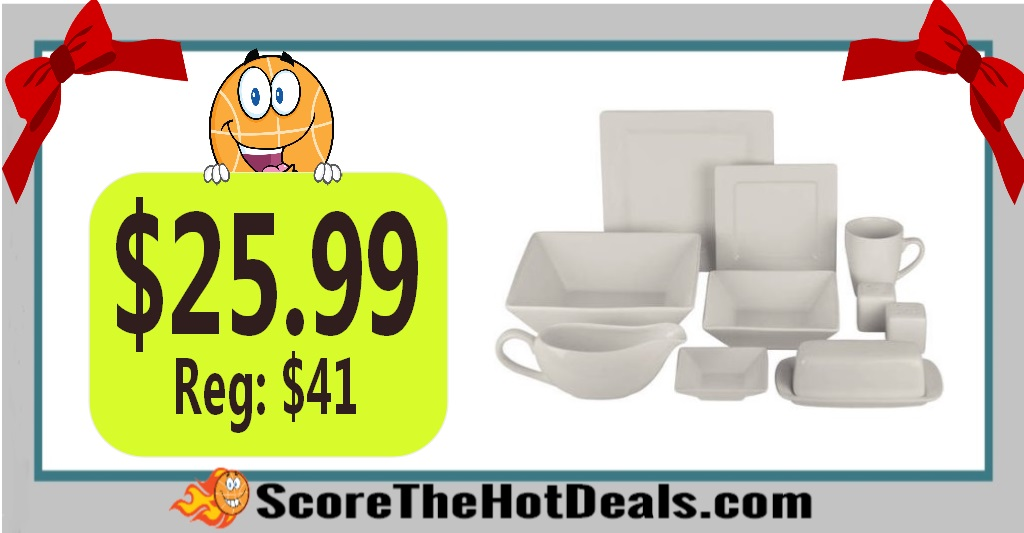 24-Piece Square Dinnerware Set + 10 Bonus Serving Pieces