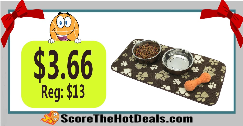 Kitchen Basics Microfiber Anti-Skid Pet Bowl Mat