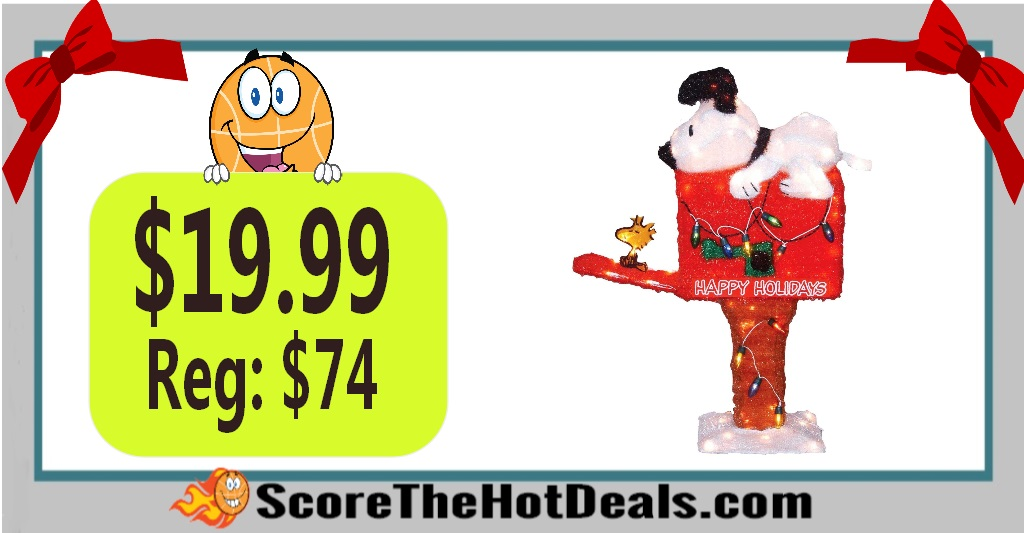 36-Inch Pre-Lit Peanuts Snoopy on the Mailbox Animated Christmas Yard Decoration