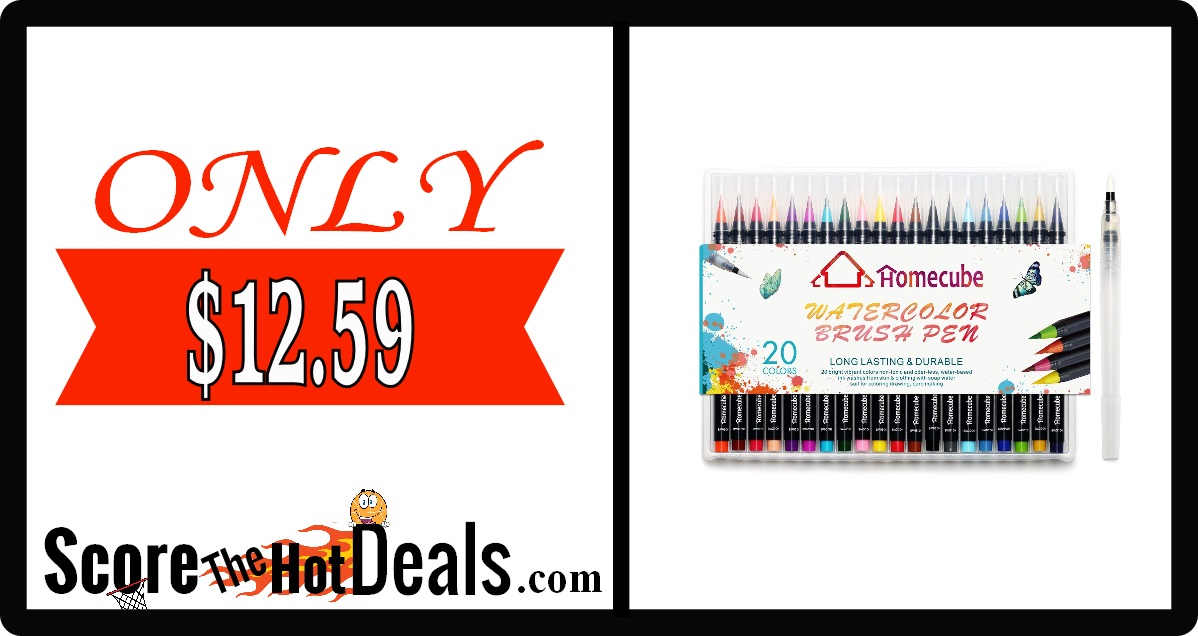 20 Piece Watercolor Brush Pen Set