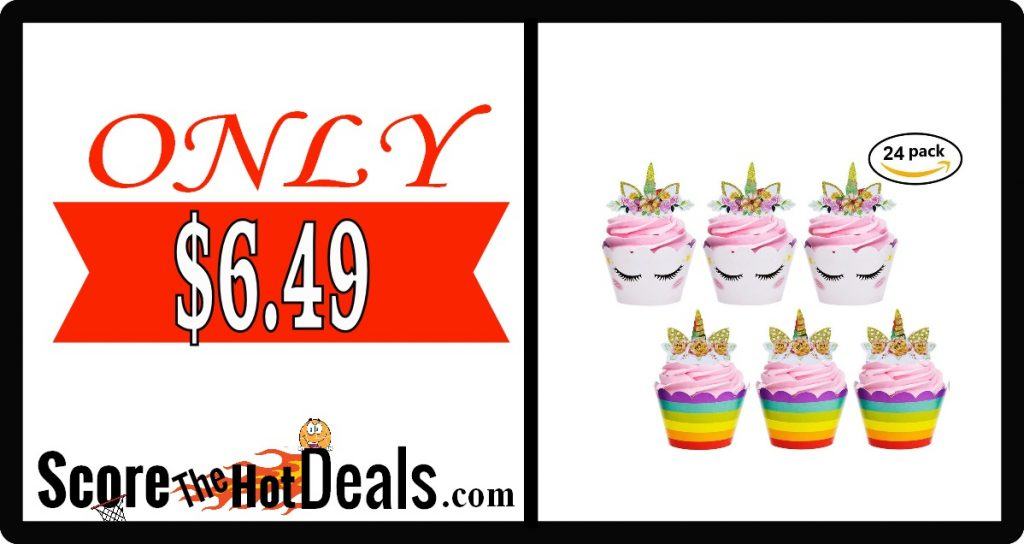 24 Pc. Unicorn Cupcake Wrappers + Toppers