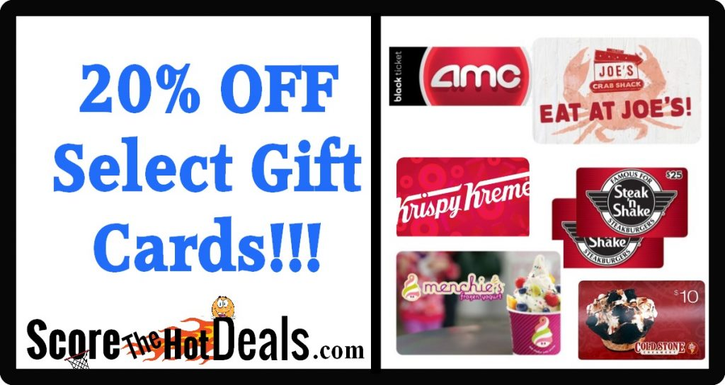 20% OFF Select Gift Cards!!!