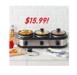 FarberWare Triple Slow Cooker - ONLY $15.99!